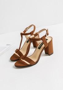 Sandales bout rond gros morceaux boucle mode haut talon marron