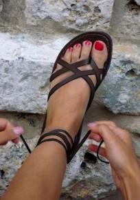 Sandales bout rond mode de sangle croisée plate cheville café
