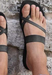 Schwarz Runde Zehe Zehentrenner Flache Hippie Sommer Römer Sandalen Damen Schuhe Flip Flops