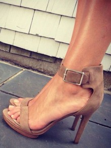 Khaki Round Toe Stiletto Buckle Fashion High-Heeled Sandals
