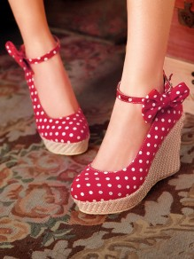 Zapatos cuñas de punta redonda pajarita dulce de tacón alto rojo