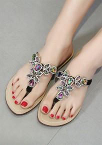 Claquette tropeziennes plat strass bride arriere à orteil mode femme tongs sandales noir