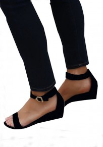 Schwarze runde Kappe Wedges Buckle Mode Sandalen