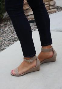 Sandali zeppe A punta rotonda con fibbia alla moda kaki