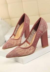 Chaussures bout à bout trapu dentelle découpess à mode à talons hauts violet