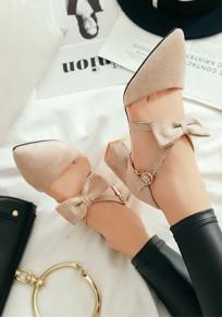 Beige Spitze Zehe Blockabsatz Schleife Fesselriemen Mode Damen Schuhe mit Mittlerer Ferse Pumps
