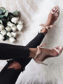 Apricot Round Toe Stiletto Bow Fashion High-Heeled Sandals
