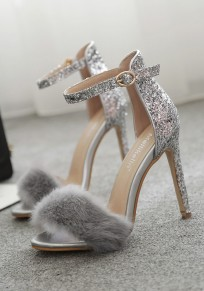 Silver Round Toe Stiletto Sequin Buckle Glitter Fur Fashion Prom High-Heeled Sandals
