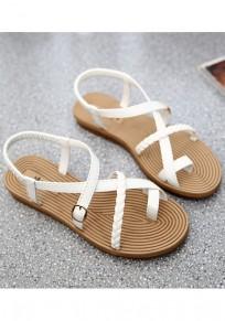 Weiß Runde Zehe Zehentrenner Fesselriemen Elegante Flache Sommer Sandalen Damen Schuhe