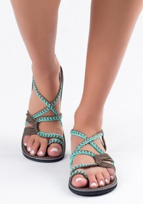 Sandales et gris bout rond mode cheville vert