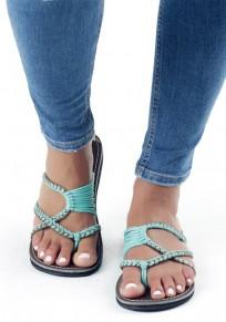 Sandalias punta redonda corte recto tobillo de moda verde claro