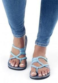 Sandales crochet bout rond plat flip flops plage tongs décontracté bleu ciel femme