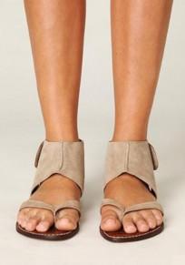 Sandalias punta redonda remache tobillo caqui