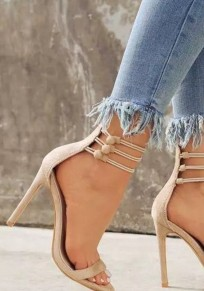 Aprikose Runde Zehe Stilett Fesselriemen Pumps Elegant High Heels Sandalen Damen Schuhe mit Absatz