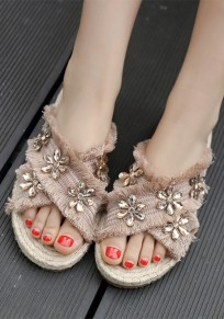 Apricot Round Toe Rhinestone Flower Fashion Ankle Sandals