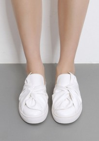 Chaussures bout rond plat noeud papillon occasionnel blanc