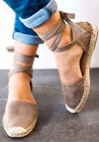 Grau Runde Zehe Schnürung Mode Flache Schuhe Sommer Sandalen Damen Schuhe