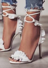 Weiße Runde Zehe Stiletto Kreuz Schnürung Rüschen High Heels Pumps Elegant Sandalen mit Absatz Damen Schuhe