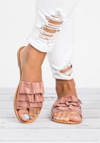 Rosa Runde Zehe Flache Wildleder Strand Sandalen Hippie Flip Flops Sommer Damen Schuhe