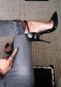 Zapatos punta de tacón de aguja correa cruzada moda tacón alto negro