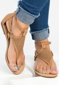 Braun Runde Zehe Flache Cut Out Mode Zehentrenner Römer Hippie Knöchel Sandalen Damen Schuhe