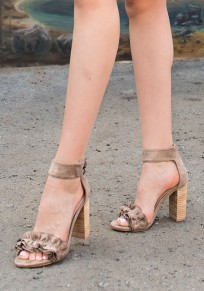 Apricot Round Toe Chunky Buckle Fashion High-Heeled Sandals