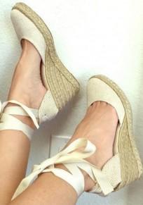 Beige Runde Zehe Schnürung Lace Up Keilabsatz Mit Absätzen Sandalen Stroh Schuhe Damen Mode