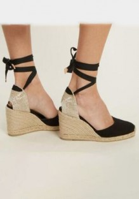 Sandales bout rond mode à lacets cheville noir