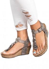 Graue runde Zehe Wedges Mode Knöchel Sandalen