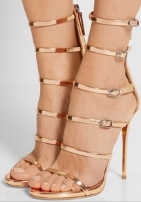 Golden Round Toe Stiletto Cut Out Buckle Fashion High-Heeled Sandals