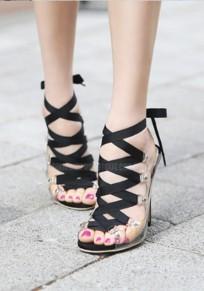 Black Piscine Mouth Stiletto Cross Strap Fashion High-Heeled Sandals
