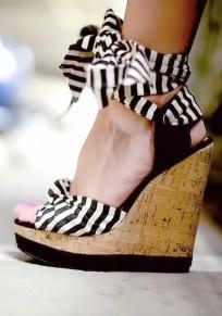 Sandales bout rond mode à lacets noir