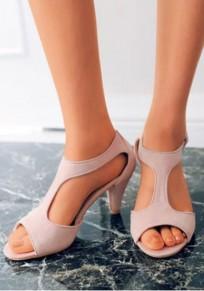 Rosa runde Zehe klobig Mode Hochhackige Sandalen