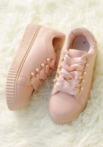 Chaussures bout rond perle plate occasionnel rose