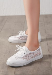 White Round Toe Flat Patchwork Casual Shoes