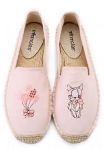 Zapatos punta redonda bordado plano casuales rosa