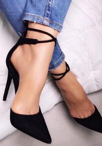 Chaussures bout rond coiffert sangle croisée décontracté à talons hauts noir