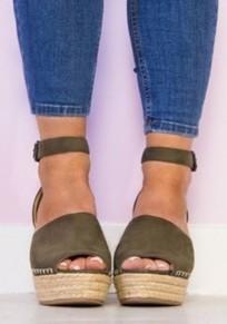 Armeegrün Runde Zehe Keilabsatz Wedge Fesselriemen Mit Hohen Absätzen Sandalen Damen Mode Schuhe