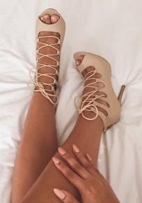 Sandales bouche de piscine coiffert découpess en bandoulière mode à talons hauts abricot
