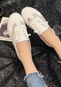 White Round Toe Lace Print Casual Ankle Sandals