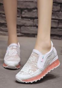 Weiße und Rote Stickerei Schmetterlings Spitze Mode Knöchel Schuhe