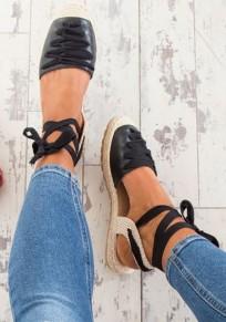 Sandales bout rond plat avec à lacets cheville mode femme espadrilles noir