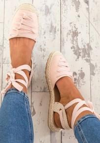 Sandales bout rond mode à lacets cheville rose
