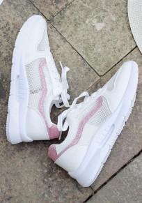 Weiße runde Zehe Pailletten Spitze up Beiläufig Knöchel Schuhe