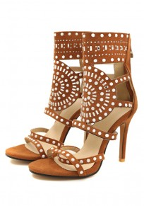 Sandales bout rond coiffert strass mode haut talon marron