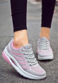 Chaussures et rose bout rond plat décontracté à semelles épaisses gris