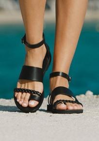 Black Round Toe Flat Roman Hippie Beach Ankle Sandals