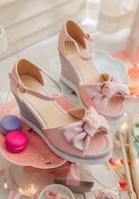 Sandales caleçons piscine nœud papillon boucle mode talons hauts rose