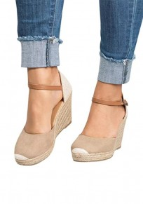 Sandales bout rond compensées décontractées à talons hauts abricot