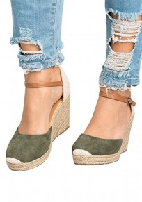 Sandales bout rond compensées décontractées à talons hauts vert